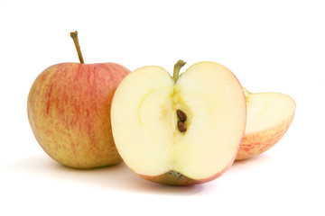 Apples photographed on a white background