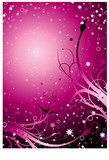 Inter galactic floral background in magenta with stars poster