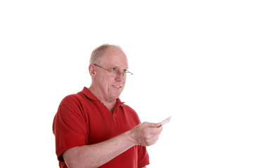 Man in Red Shirt with Credit Card