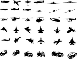 war airplanes and helicopters & cars vector