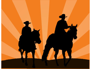illustration of two cowboys against a sunset background