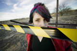 Punk Girl Behind Caution tape poster