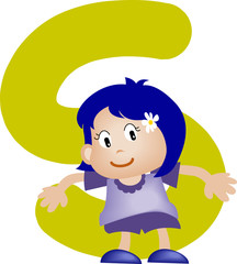 Girl with Alphabet letter S