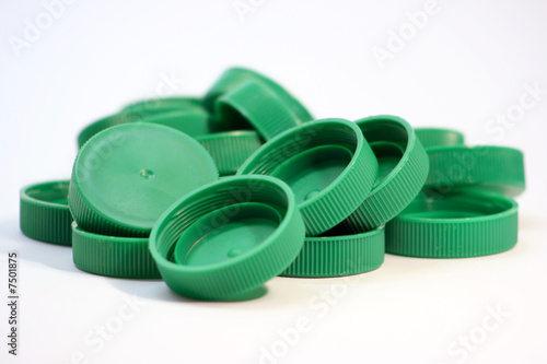 green milk bottle lids..