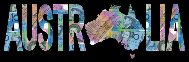 Australian map with currency