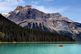 Boating on Emerald lake in Yoho national park, Canadian Rockies poster