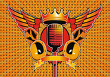 Speaker and microphone motif. poster