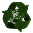 grass recycle symbol with earth