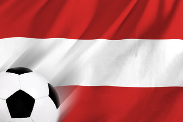 soccer ball on background of the flag austria