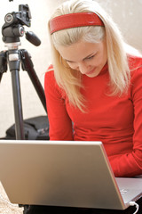 Female Photographer with a laptop