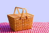 Picnic Basket on Table poster