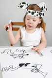 Small girl with dalmatian mask poster