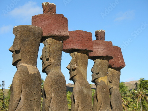 Moai with topknots and Anakena Beach, Easter Island, Chile