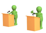 3d people - puppets, participating political debate poster