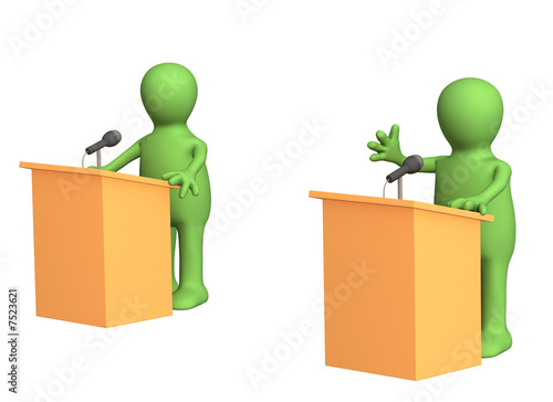 poster of 3d people - puppets, participating political debate
