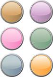 Sechs glänzende runde Website-Buttons in weichen Farben poster