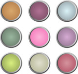 Neun glänzende runde Website-Buttons in weichen Farben poster