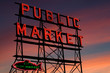 Pike Place Market neon sign at sunset, Seattle, Washington - 7526026
