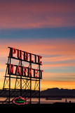 Pike Place Market neon sign in Seattle, Washington