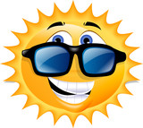 An illustration of the sun, wearing sunglasses and grinning. poster