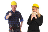 construction worker and businesswoman with earnings poster
