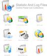 Detaily fotografie statistika a log souboru - ovládací panel sadu ikon