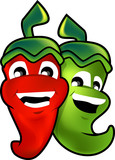 red and green chilli for mascot poster
