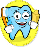 Mascot of tooth with tooth-paste and tooth-brush poster