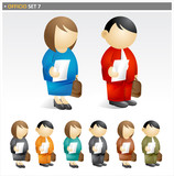 Fototapety Business People with Briefcase - officio icon set