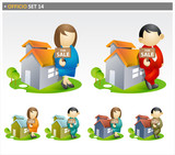 Real Estate Agents with house  for sale - offico icon set poster