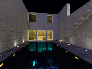 Water pool house - Night