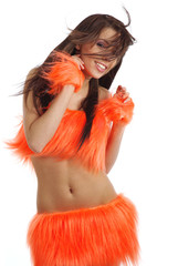 beautiful girl in orange costume. cheerleader.