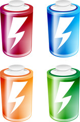 An illustration of four batteries of different colors