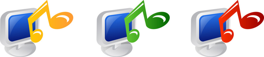 desktop  with colorful musical note