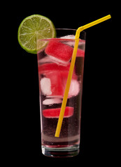 water with two-toned ice cubes (frozen water and cranberry juice