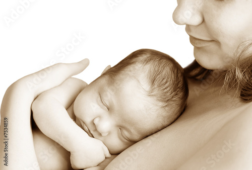 Woman and baby_sepia