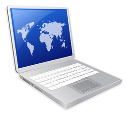 laptop with worldmap background