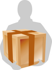silhouette of a  man lifting a box