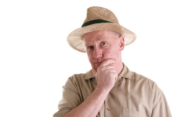 Guy in Straw Hat with Hand on Chin