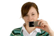 girl taking picture with mobile phone