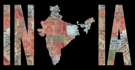 Map of India with cash