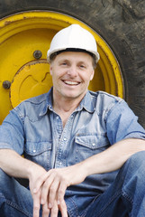 A happy smiling construction worker.