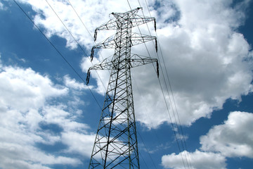 High voltage tower with powerlines