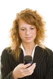 Frau liest SMS poster
