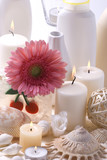 Bath accessories, candles, mussels and flower. poster