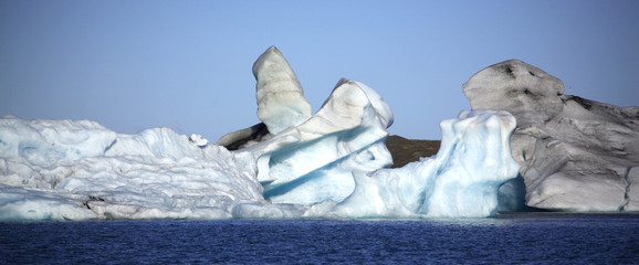 Panoramic view of iceberg shapes