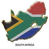 South Africa metal pin badge poster
