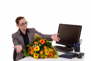 Secretary day, flowers on desk