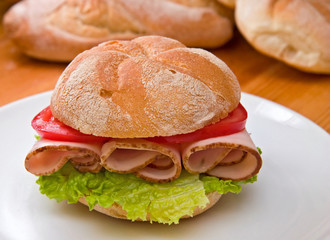 Kaiser roll with turkey breast