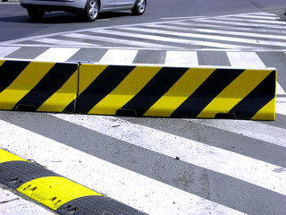 zebra crossing and speed-bump on the street